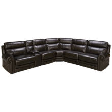 HTL Furniture Boddington 2 Leather Power 6 Piece Reclining Sectional with Tilt Headrest and Console