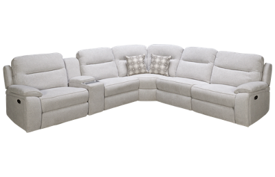 Synergy Margot Power 6 Piece Reclining Sectional with 3 Recliners with Tilt Headrest and Console