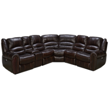 Flexsteel Crosstown 6 Piece Leather Power Reclining Sectional with Power Headrest