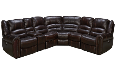 Flexsteel Crosstown 6 Piece Leather Power Reclining Sectional