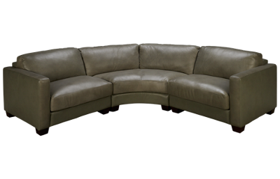 Futura Grey Leather 3 Piece Sectional