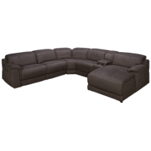 HTL Furniture Slater Power 6 Piece Reclining Sectional with Tilt Headrest and Console