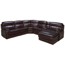 HTL Furniture Branson Leather Power 6 Piece Reclining Sectional with Tilt Headrest and Console