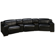 HTL Furniture Manhattan Leather Power 5 Piece Reclining Sectional with Tilt Headrest and Console