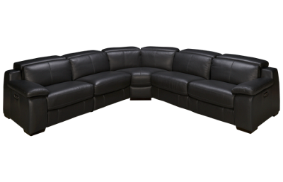 HTL Furniture Julian 5 Piece Leather Power Sectional