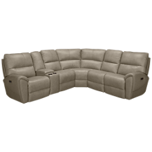 Futura Juno Leather Power 6 Piece Reclining Sectional with Tilt Headrest and Console
