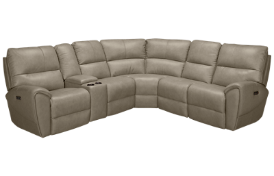 Futura Juno Leather Power 6 Piece Reclining Sectional