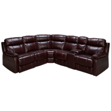HTL Furniture Courtney Leather Power 6 Piece Reclining Sectional with Tilt Headrest and Console