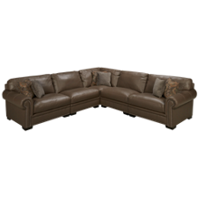 Simon Li Menjikat 5 Piece Leather Sectional