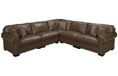 Simon Li Menjikat 5 Piece Leather Sectional with