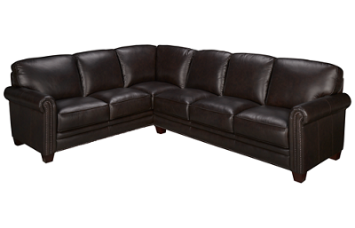 Futura Nailhead 2 Piece Leather Sectional
