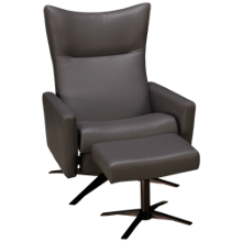 American Leather Stratus Leather Comfort Air Reclining Chair with Tilt Headrest and Ottoman