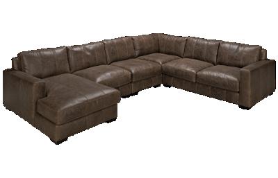 Bernhardt Dawkins 5 Piece Leather Sectional