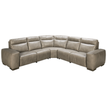 Bernhardt Elba 3 Piece Leather Reclining Sectional with Tilt Headrest