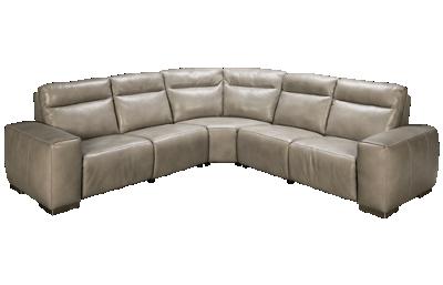 Bernhardt Elba 3 Piece Leather Reclining Sectional with Tilt Headrest