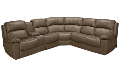 Synergy Larue Power 3 Piece Reclining Sectional with 3 Recliners with Tilt Headrest and Console