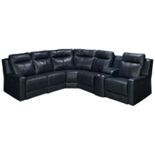 Palliser Redwood 6 Piece Power Leather Sectional with Power Tilt Headrest