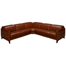 HTL Furniture Brandy Leather Power 3 Piece Reclining Sectional with Tilt Headrest