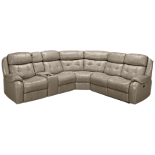 Synergy Montana Leather Power 3 Piece Reclining Sectional with Tilt Headrest and Console
