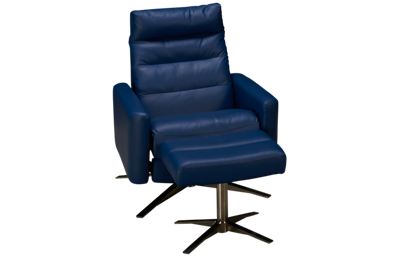 American Leather Cirrus Leather Comfort Air Reclining Chair with Tilt Headrest and Ottoman