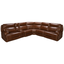 Man Wah Mustang 6 Piece Leather Reclining Sectional with Tilt Headrest