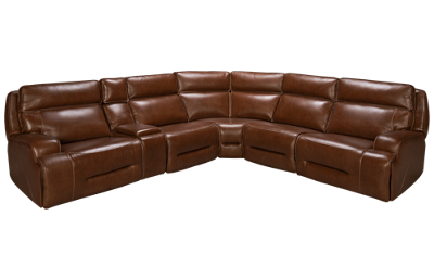 MW Home Mustang 6 Piece Leather Reclining Sectional
