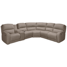 Southern Motion Fandango Power 6 Piece Reclining Sectional with Tilt Headrest and Console