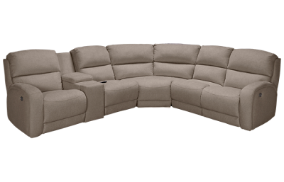 Southern Motion Fandango Power 6 Piece Reclining Sectional with 3 Recliners with Tilt Headrest and Console