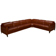 HTL Furniture Brandy Leather Power 4 Piece Reclining Sectional with Tilt Headrest