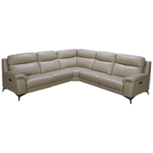 HTL Furniture Mia 3 Piece Power Leather Sectional with Tilt Headrest