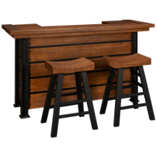 American Heritage Billiards Gateway Bar With 2 Saddle Bar Stools