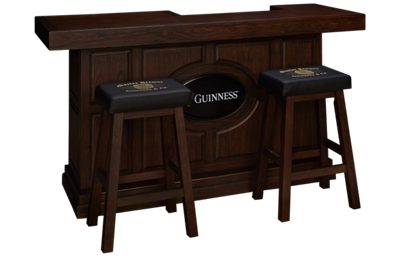 "East Coast Innovators Guinness 82"" Bar With 2 Saddle Bar Stools"