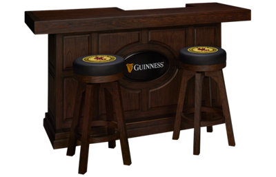 "East Coast Innovators Guinness 82"" Bar With 2 Round Bar Stools"