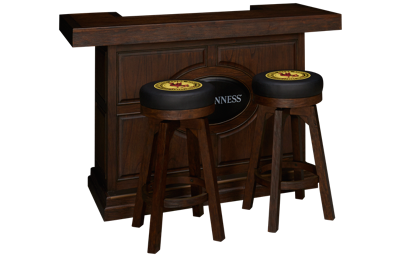 "East Coast Innovators  Guinness 65"" Bar With 2 Round Bar Stools"