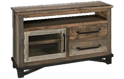 International Furniture Direct Loft Brown 2 Drawer, 1 Door Media Console