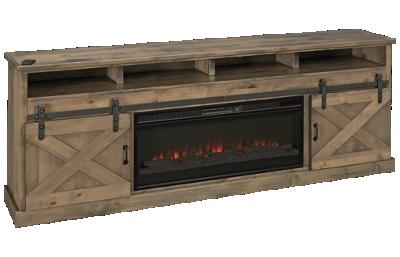 "Legends Furniture Barnwood 94"" 2 Door Fireplace Console"