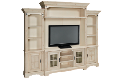 Oak Furniture West Antique White 5 Piece Entertainment Center