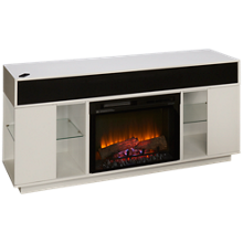 Dimplex Flex Lex Fireplace Media Console with Log Firebox and Soundbar