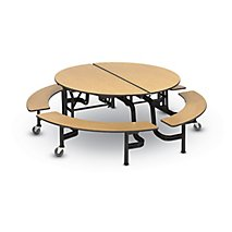 Mobile Cafeteria 60 W Round Table Benches T Mold Edge