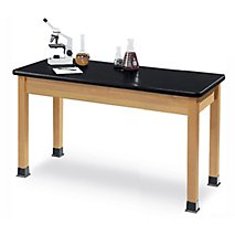 Classic Hardwood Frame Lab Table: Chemical Resistant Surface