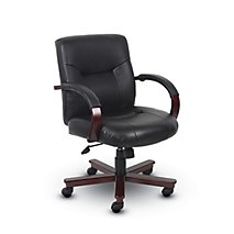 harrison leather u0026 wood midback chair
