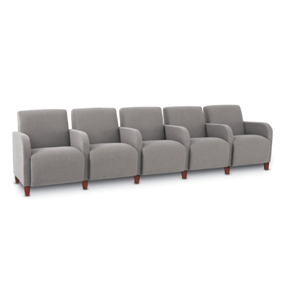Bristol 5-Seat Sofa w/ End & Center Arms in Vinyl