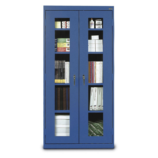 In View Steel Tall Storage Cabinet W, Tall Storage Cabinets With Doors