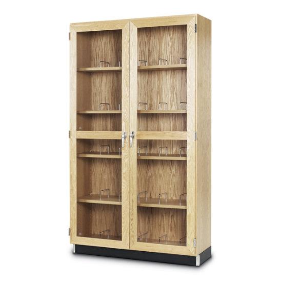 Wood Microscope Storage Cabinet W Glass Double Doors In Oak Dmc