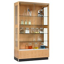 Wood Display Cabinet With Oak Finish