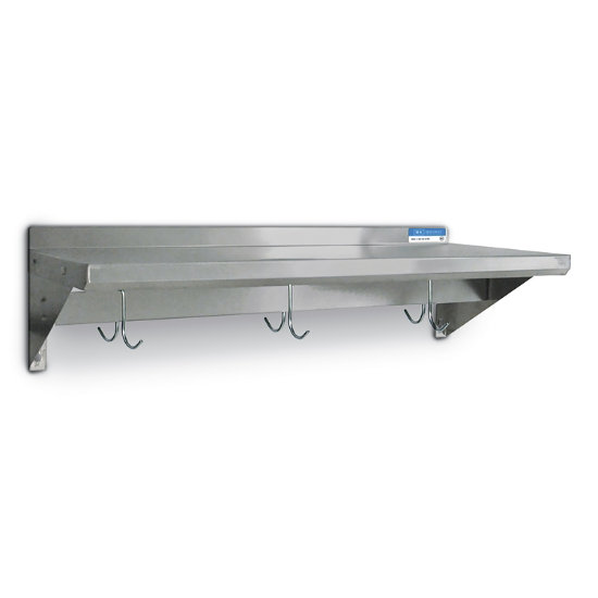Stainless Steel Wall Shelf with Pot Hooks