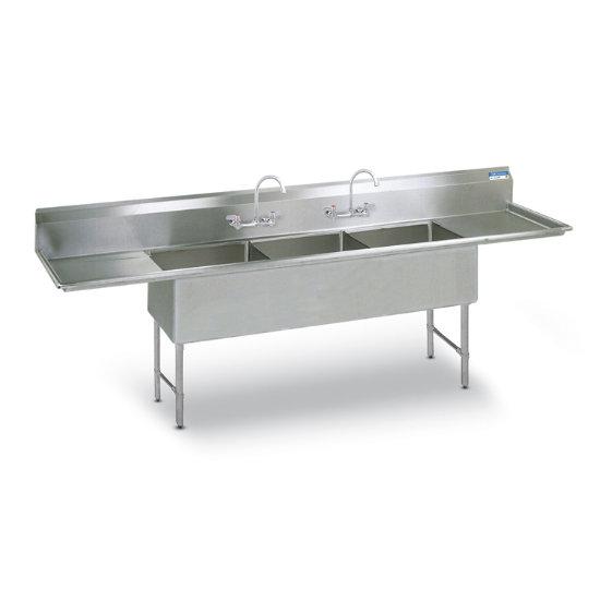 Stainless Steel 3 Basin/ 2 Faucet Heavy Duty Prep Sink