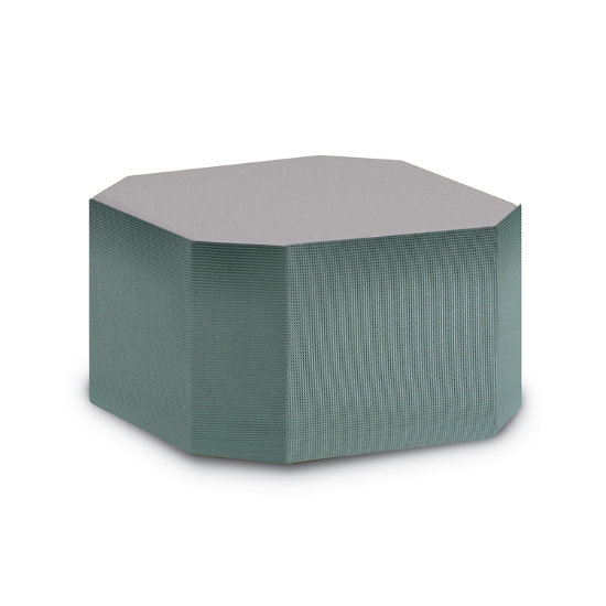 Cube Modular Octagonal Shaped Ottoman 2 Tone Vinyl Fabric Hfx