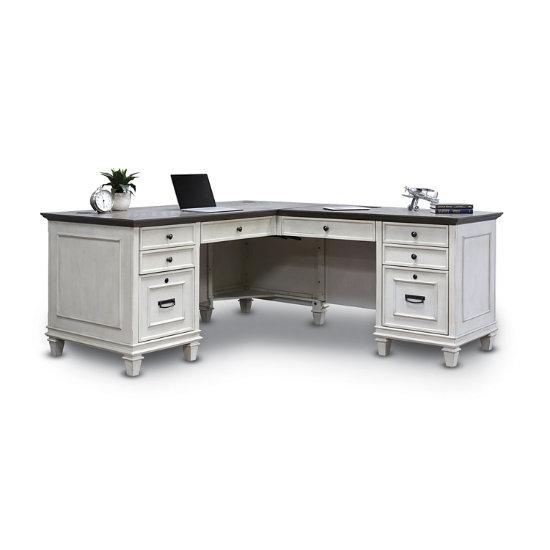 Barrister Office L Shaped Desk In Linen White Hrt Ld W K Log
