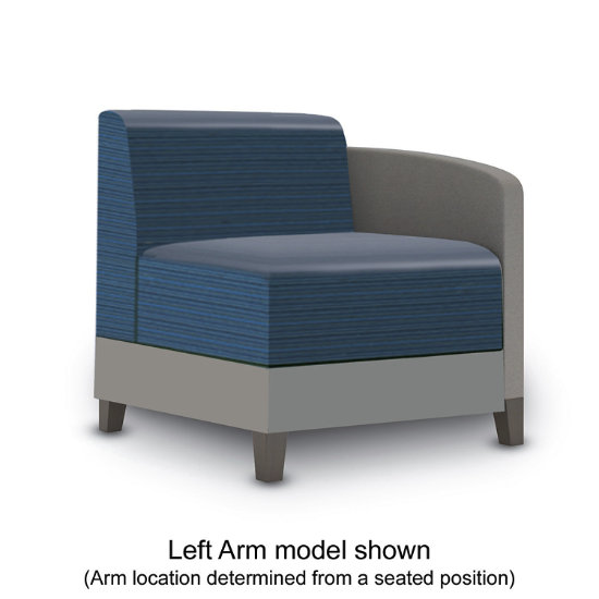 Sonnet Single Arm Guest Chair in Two-Tone Upholstery